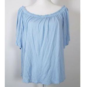 H&M Off the Shoulder Blue Loose Top Shirt Junior L